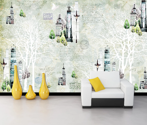 3D Building Tower Tree English Wall Mural Wallpaper 1743