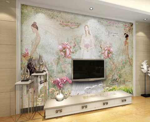 3D Bride Flower Wedding Dress Wall Mural Wallpaper 1742