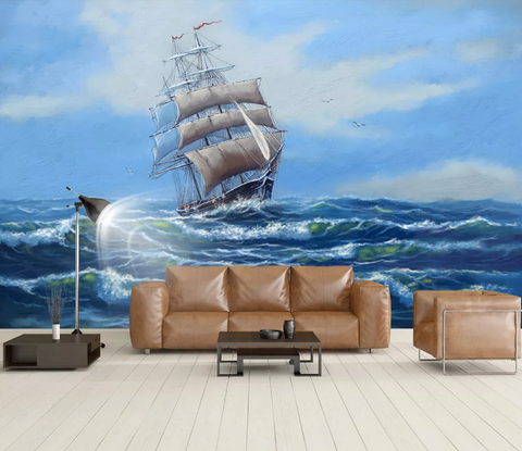 3D Blue Sailboat Sea Wall Mural Wallpaper 2031