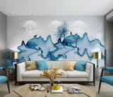 3D Blue Watercolor Elk Tree Boat Wall Mural Wallpaper 2534