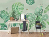 3D Green Tropical Leaves Wall Mural Wallpaper 2693