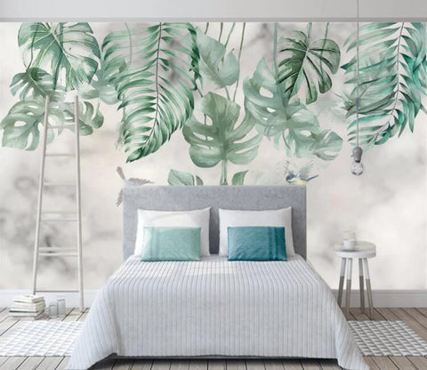 3D Green Leaves Wall Mural Wallpaper 2637