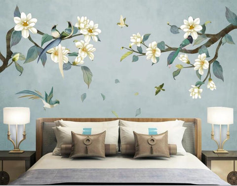 3D Blue Magnolia Bird Wall Mural Wallpaper 2433