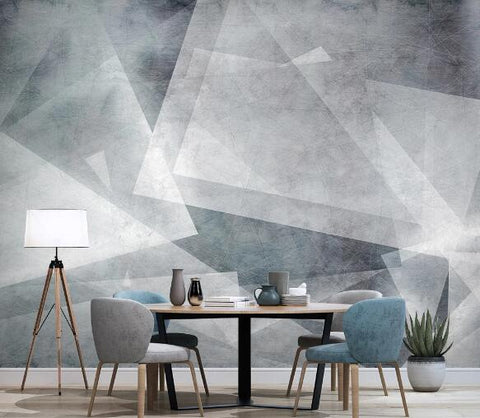3D Gray Geometric Wall Mural Wallpaper 1207