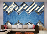 3D Blue Denim Wavy Wall Mural Wallpaper SF70