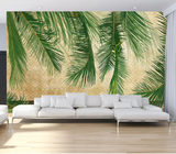 3D Green Leaves Branch Wall Mural Wallpaper SF9