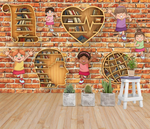 3D Brain Newspaper Globe Heart Bookshelf Kids Brick Wall Mural Wallpaper SF98