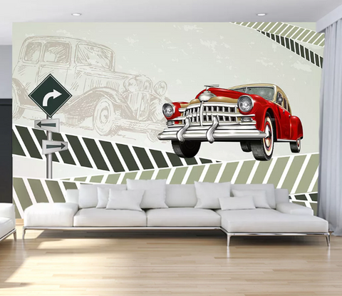 3D Cartoon Car Wall Mural Wallpaper SF113