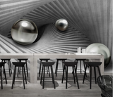 3D Dark Gray Ball Stripes Wall Mural Wallpaper SF161