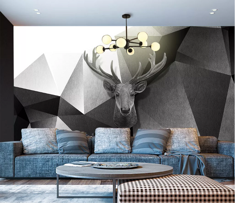 3D Black White Elk Triangle Wall Mural Wallpaper SF171