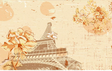 3D Yellow Floral Eiffel Tower Wall Mural Wallpaper SF235