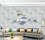 3D Blue Circle Triangle Geometry Tree Mountain Wall Mural Wallpaper SF261