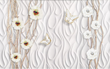 3D White Relief Floral Butterfly Wall Mural Wallpaper SF330