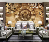 3D Retro Vintage Gear Clock Wall Mural Wallpaper SF375