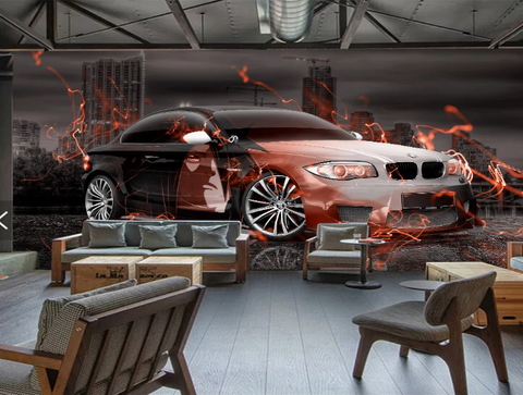 3D Car City Wall Mural Wallpaper SF380