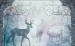 3D Blue Elk Forest Wall Mural Wallpaper SF386