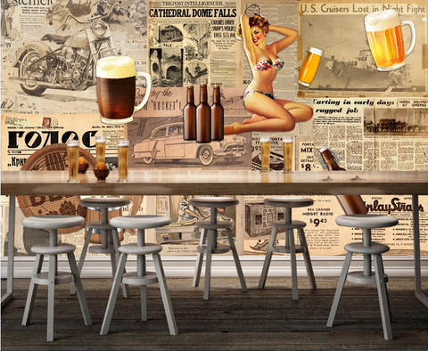 3D Vintage Newspaper Beer Beauty Wall Mural Wallpaper SF397
