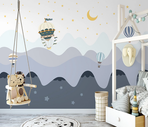 3D Cartoon Mountain Moon Star Hot Air Balloon Kid Wall Mural Wallpaper SF02