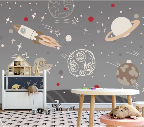 3D Cartoon Rocket Planet Spaceship Star Kid Child Wall Mural Wallpaper SF116