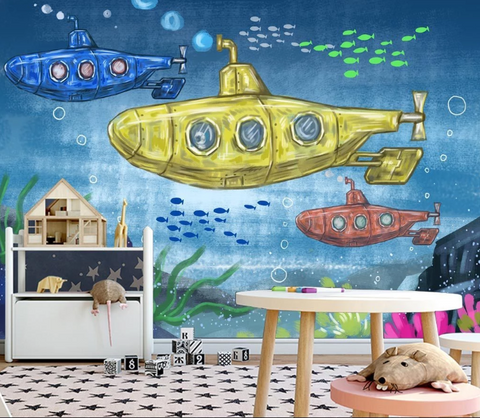 3D Cartoon Submarine Wall Mural Wallpaper SF118
