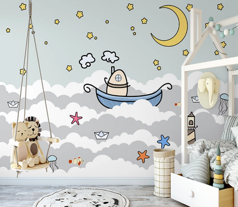3D Cartoon Moon Star Boat Starfish Jellyfish Wall Mural Wallpaper SF199