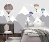 3D Cartoon Mountain Ladder Hot Air Balloon Wall Mural Wallpaper SF221