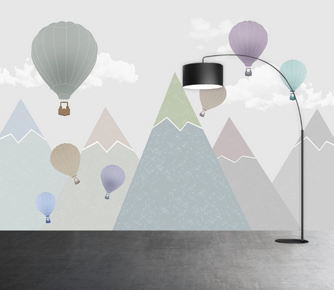 3D Cartoon Mountain Hot Air Balloon Kid Wall Mural Wallpaper SF226