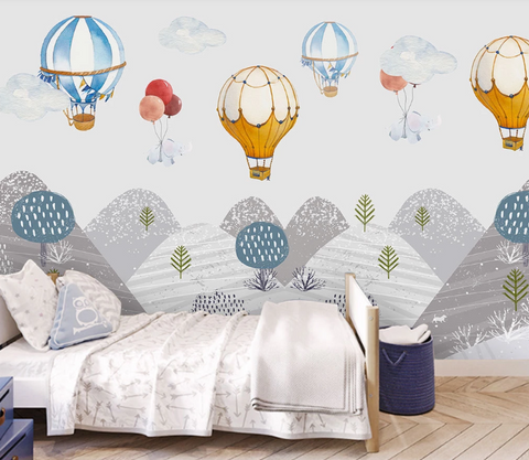3D Cartoon Mountain Hot Air Balloon Kid Wall Mural Wallpaper SF413