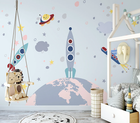 3D Cartoon Star Planet Rocket Plane Spaceship Wall Mural Wallpaper SF02