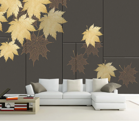3D Maple Leaves Wall Mural Wallpaper SF129