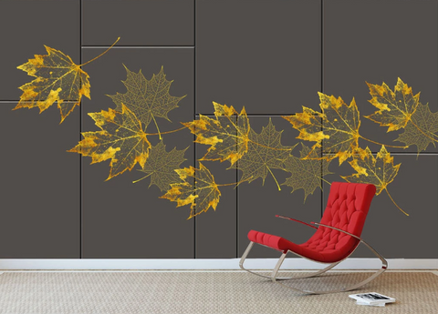 3D Maple Leaves Wall Mural Wallpaper SF131