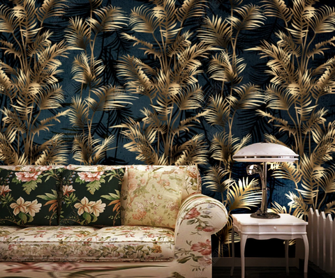 3D Vintage Golden Leaves Plant Background Wall Mural Wallpaper LXL