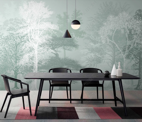 3D Hand Drawn Forest Tree Wall Mural Wallpaper LQH 1