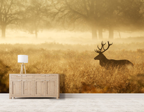 3D golden prairie reindeer wall mural wallpape 23
