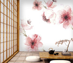 3D red flower watercolor wall mural wallpape 38