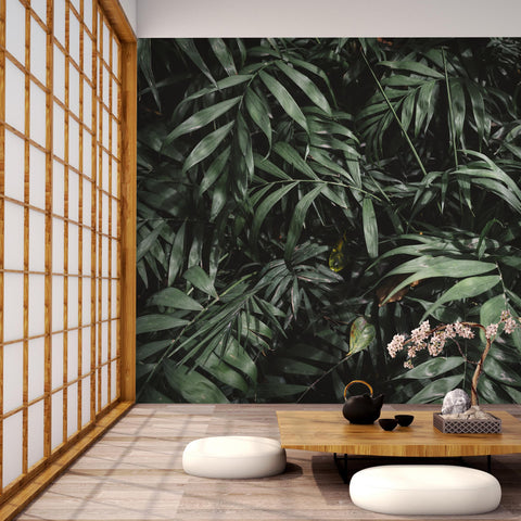 3D green tropical plants wall mural wallpape 47