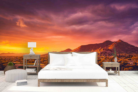 3D Sunset Red Sky Wall Mural Wallpaper   34