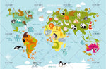 3D Cartoon Animal World Map Wall Mural Wallpaper 116