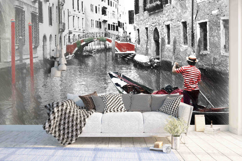 3D Black White Water City Wall Mural Wallpaper 9
