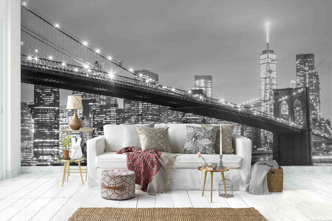 3D Night View Black White City Wall Mural Wallpaper   10