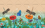 3D Colorful Flower Butterfly Dragonfly Wall Mural Wallpaper 51