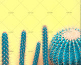 3D green cactus yellow background wall mural wallpaper 140