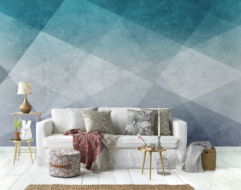3D Modern Blue Geometric Figure Wall Mural Wallpaper JN 1477