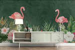 3D Flamingo Floral Green Leaves Wall Mural Wallpaper JN 1485