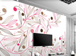3D hand painting pink floral wall mural wallpaper 200