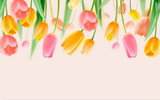 3D watercolor pink yellow tulip wall mural wallpaper 204