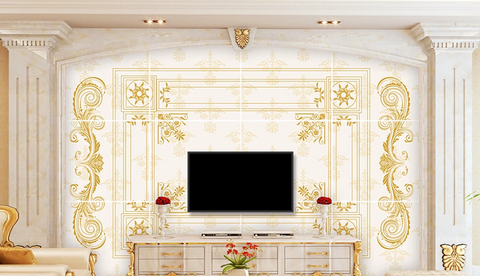 3D Golden Floral Wall Mural Wallpaper 46