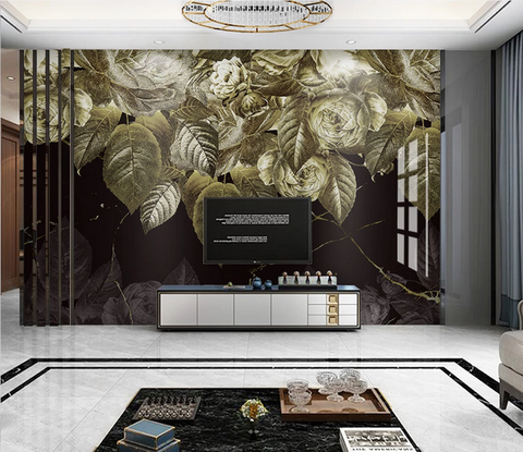 3D Golden Floral Leaves Wall Mural Wallpaper 329