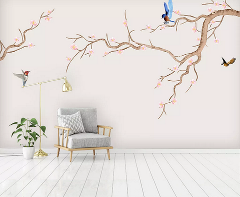 3D Blossom Branch Bird Wall Mural Wallpaper 51