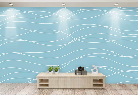 3D Blue Wavy Wall Mural Wallpaper 423